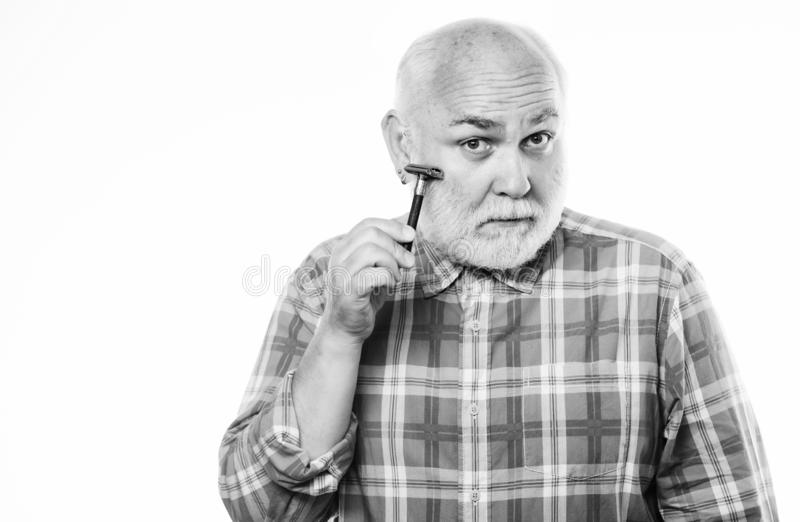Barber salon. Grooming beard. Barbershop concept. Barber vintage equipment. Shave sharp blade. Smooth clean skin. Man stock photos
