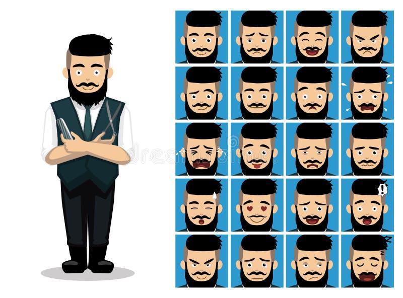 Barber Scissor Comb Cartoon Emotion Faces Vector Illustration. Cartoon Emoticons EPS10 File Format