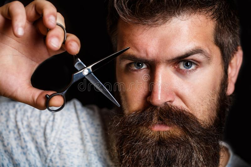 Barber scissors, barber shop. Brutal male, hipster with moustache. Male in barbershop, haircut, shaving. Portrait of stock image