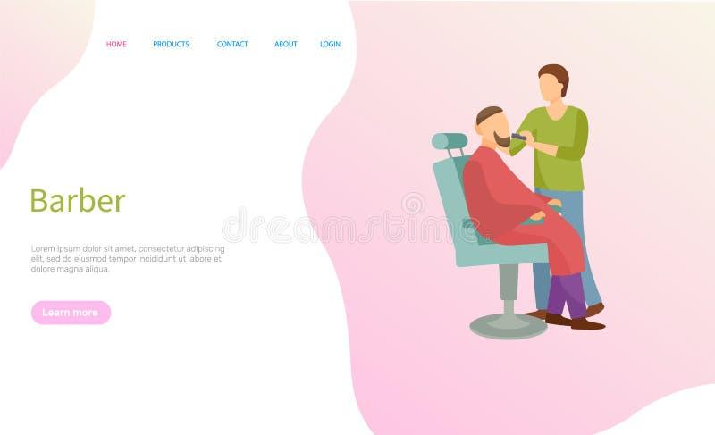 Barber Service, homme sur la chaise et le maître de raseur-coiffeur illustration stock
