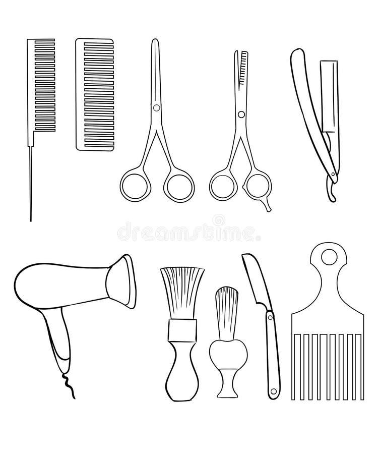 Barber Set de los elementos de la tienda y del peluquero del ejemplo de los iconos del afeitado ilustración del vector
