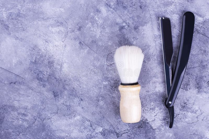 Barber set with razor and brush stock image