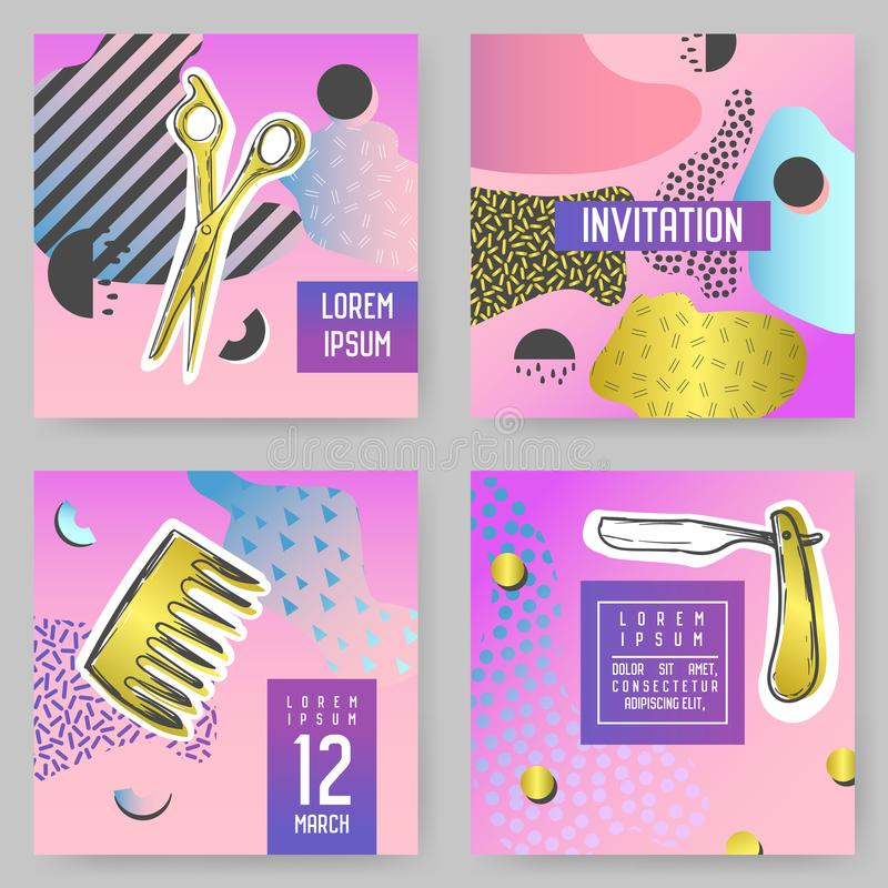Barber Shop Abstract Posters Set with Golden Glitter Elements. Hipster Style Covers, Banners, Brichure Templates vector illustration