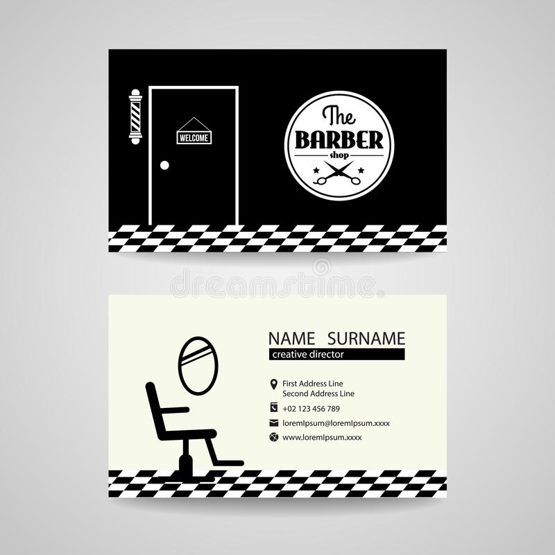 Barber Shop Back And White Retro Business Card Vector Design Stock ...
