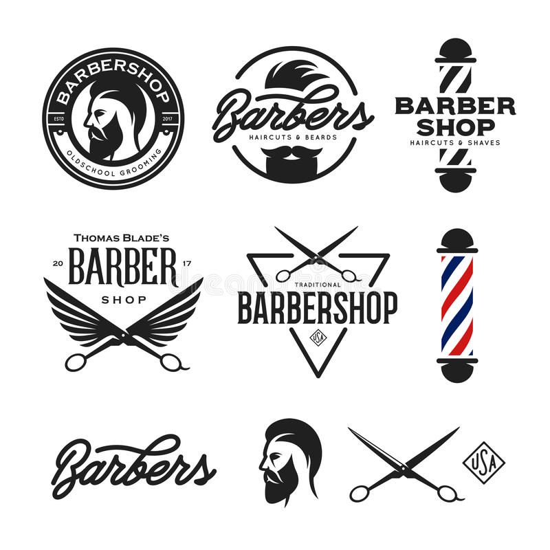 Barber shop badges set. Vector vintage illustration. royalty free illustration