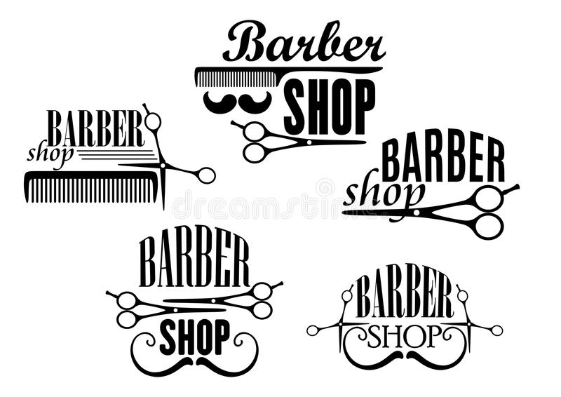 Black And White Barber Shop Badges Or Signs With Text Decorated Moustaches Scissors A Comb Vector Illustration