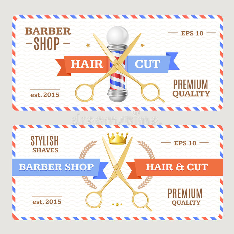Barber Shop Banners Flyers Card Vektor stock abbildung