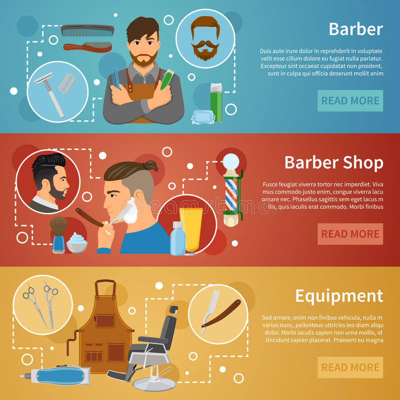 Barber Shop Banners Set Flat-Art stock abbildung