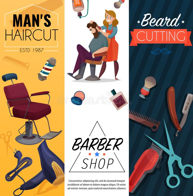 Barber Shop Cartoon Banners stock de ilustración