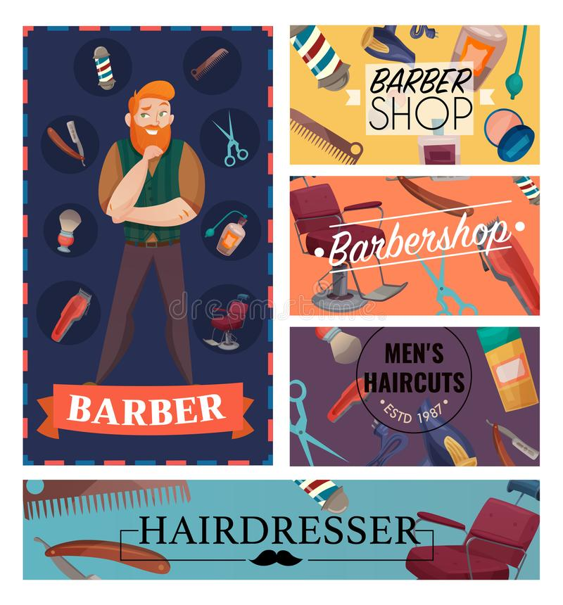 Barber Shop Cartoon Cards illustrazione vettoriale