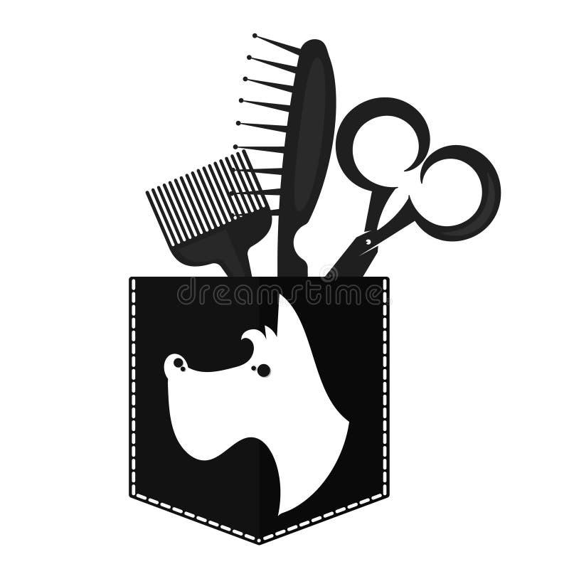 Barber Shop For Dogs Symbol For Business Stock Vector Illustration
