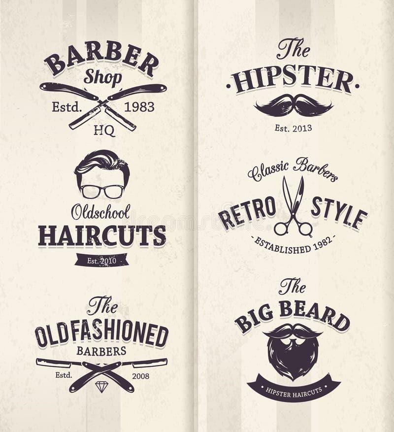 Barber Shop Emblems vektor illustrationer