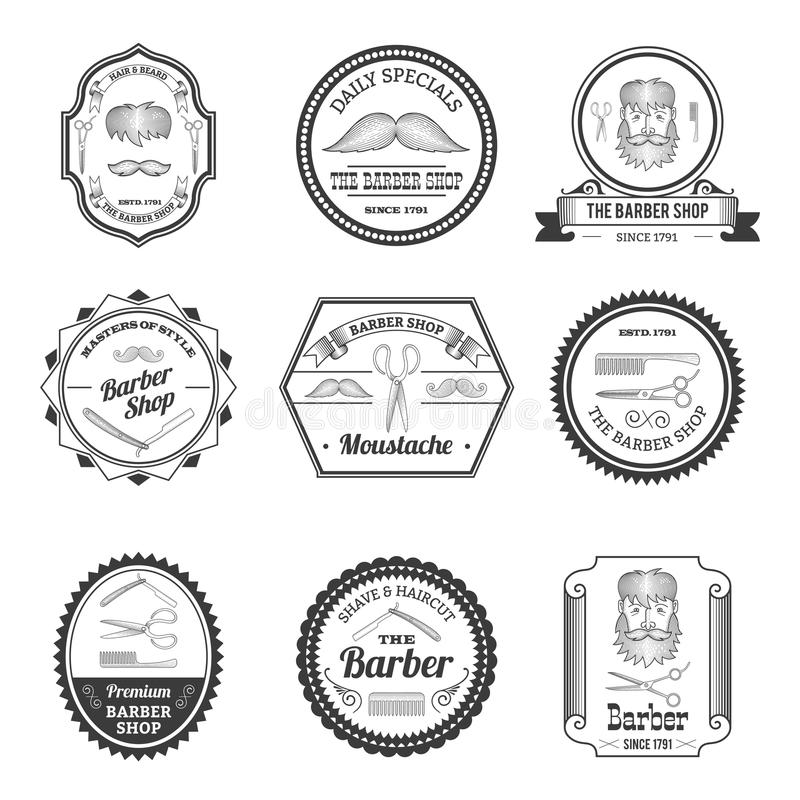 Barber Shop Emblems illustrazione vettoriale