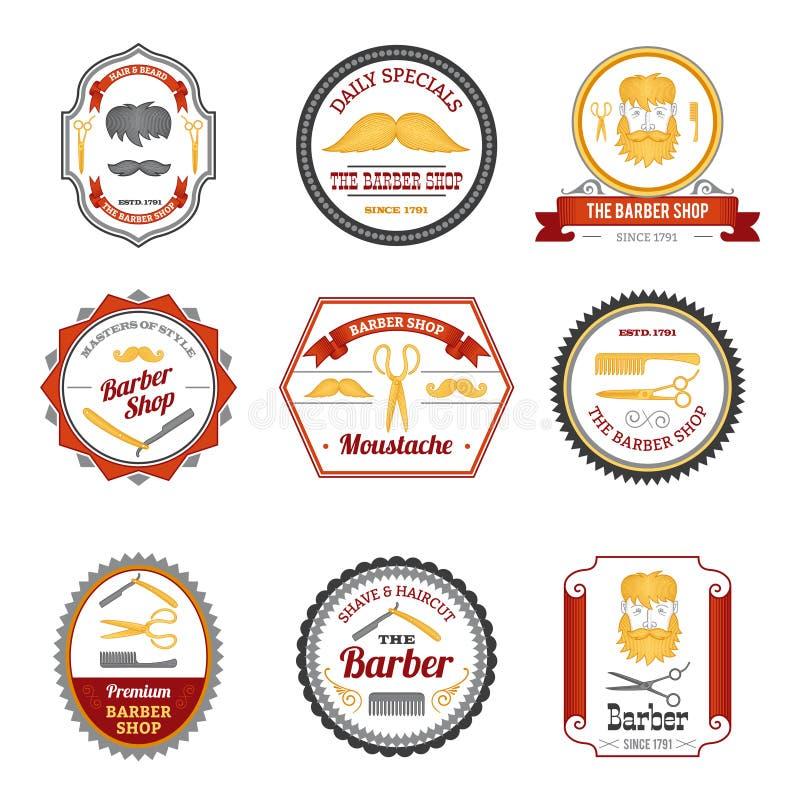Barber Shop Emblems Colored royalty illustrazione gratis