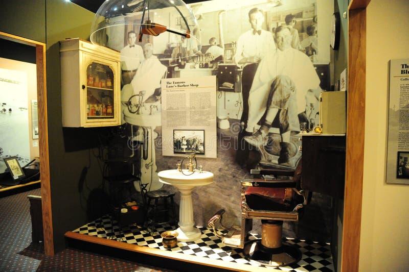 Barber Shop Exhibit en el museo del Tunica en Mississippi del norte imágenes de archivo libres de regalías