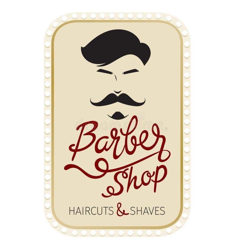 Barber Shop, frisyr- och rakningbaner med bokstäver stock illustrationer