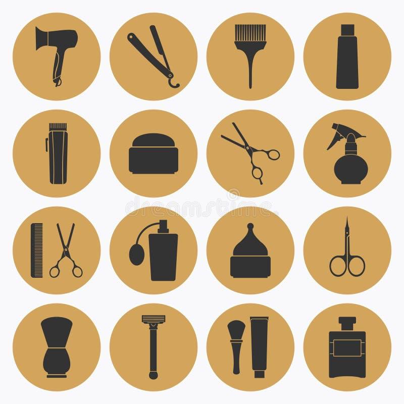 Barber Shop guld- symbolssamling vektor illustrationer