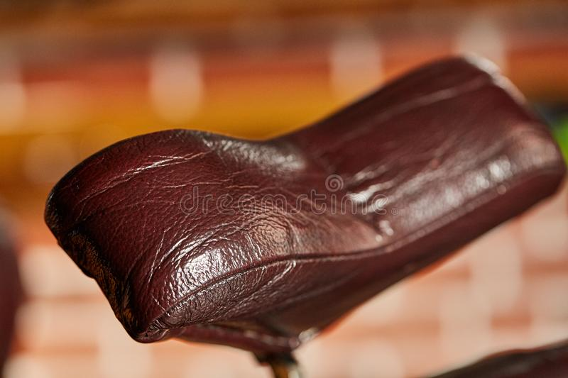 Retro leather chair barber shop in vintage style. Barbershop theme. stock image