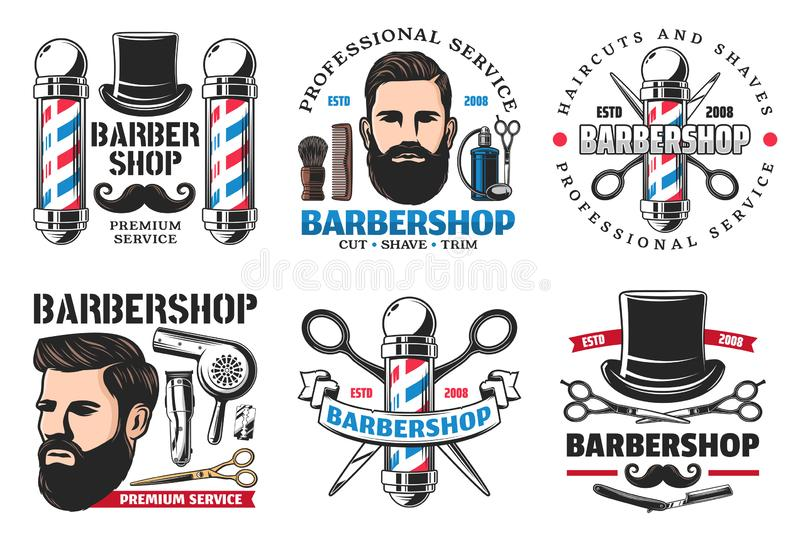 Barber shop signs icons hipster and cutting tools royalty free illustration