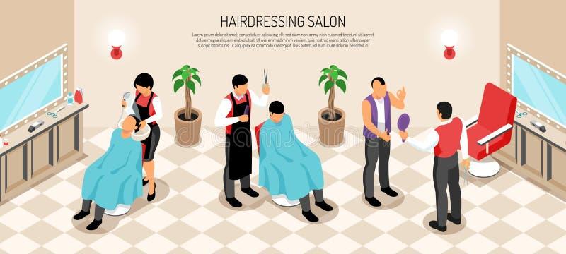 Barber Shop Isometric Horizontal Illustration illustrazione vettoriale
