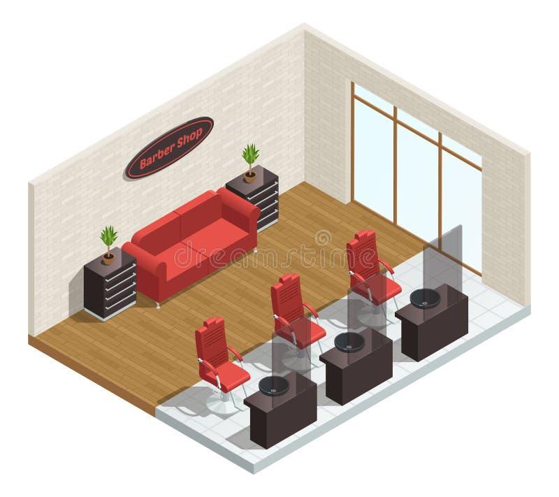 Barber Shop Isometric Interior royalty illustrazione gratis