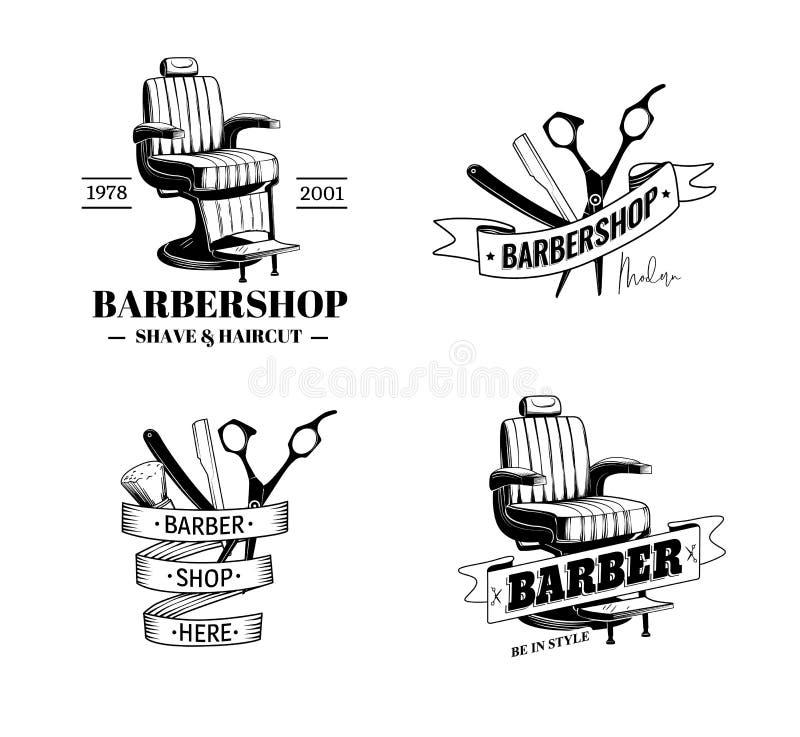 Barber Shop Labels ilustración del vector
