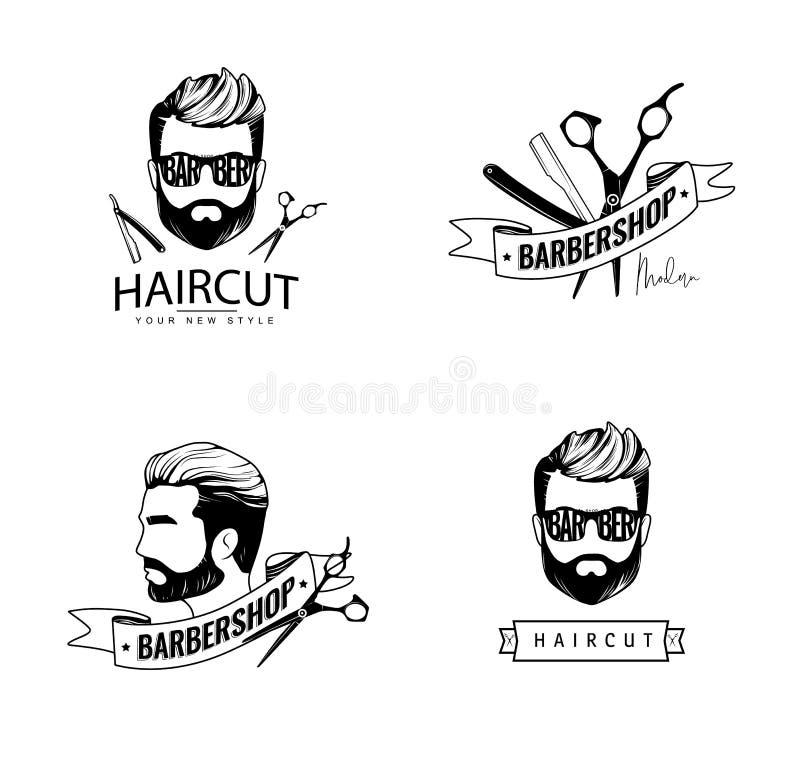 Barber Shop Labels libre illustration