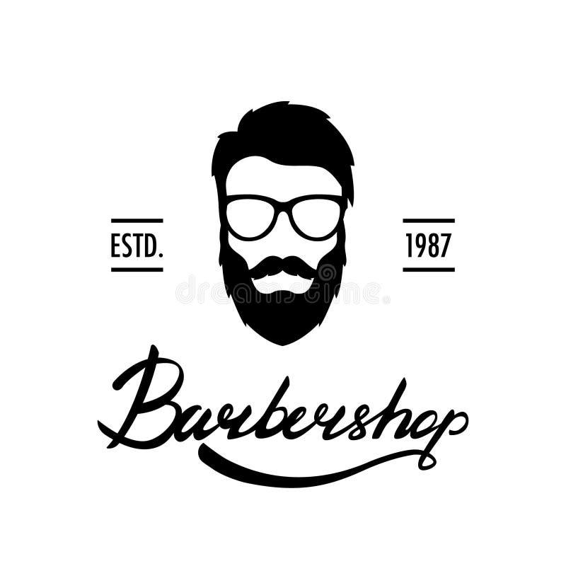 Barber Shop logo eller etikett Stående av mannen med skägget och mustaschen stock illustrationer