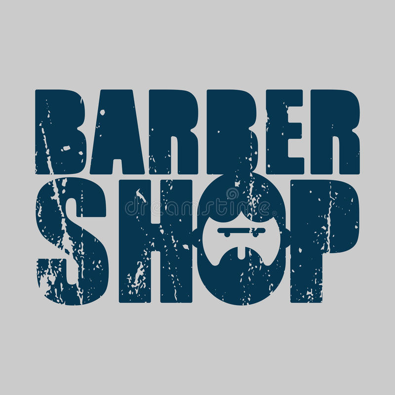 Barber shop logo. Emblem of hairdresser for men. Haircut beard s stock illustration