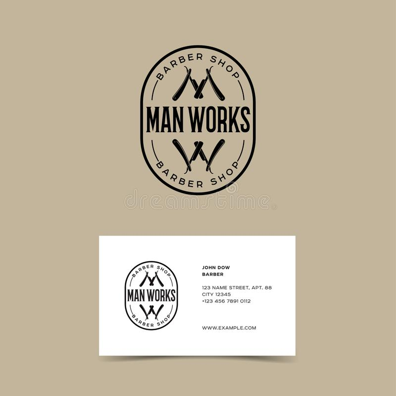 Barber shop logo. Identity. W and M letters. M and W monogram as two razors with letters emblem vector illustration
