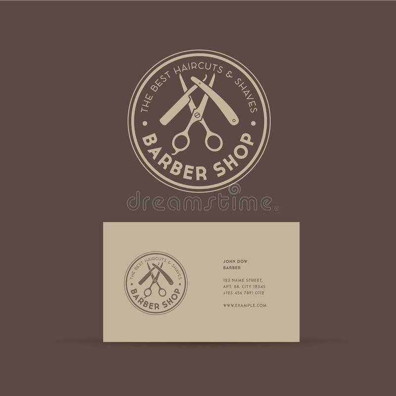 Barber shop logo. Scissors and a razor with letters as an emblem. royalty free illustration