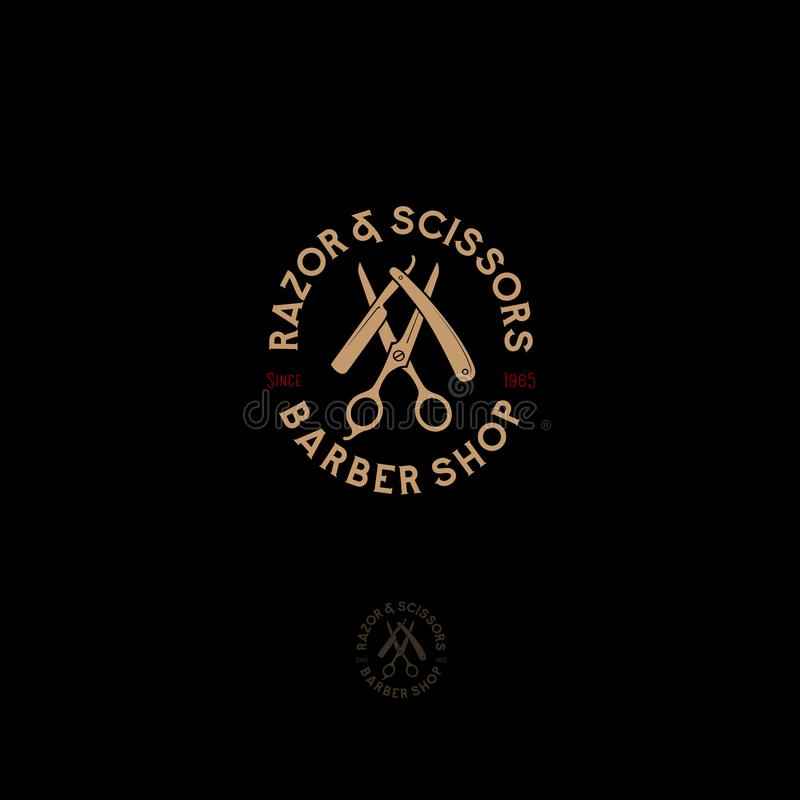 Barber shop logo. Scissors and a razor with letters as an emblem. vector illustration