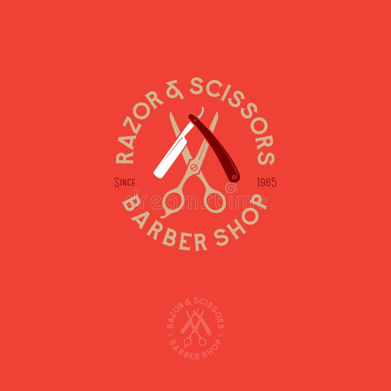 Barber shop logo. Scissors and a razor with letters as an emblem. stock illustration