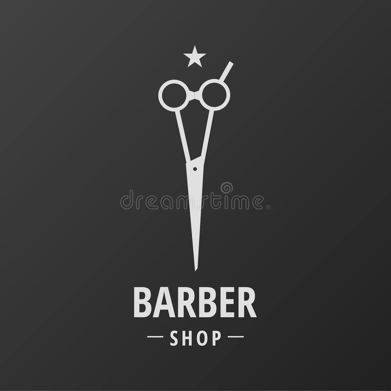 Barber Shop Logo Scissors Star illustrazione vettoriale