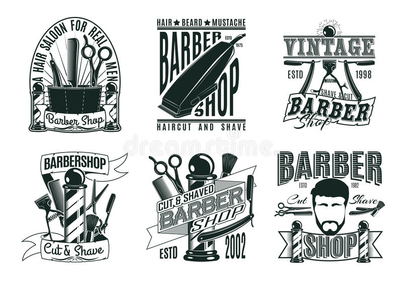 Barber Shop Logos Set d'annata monocromatica royalty illustrazione gratis