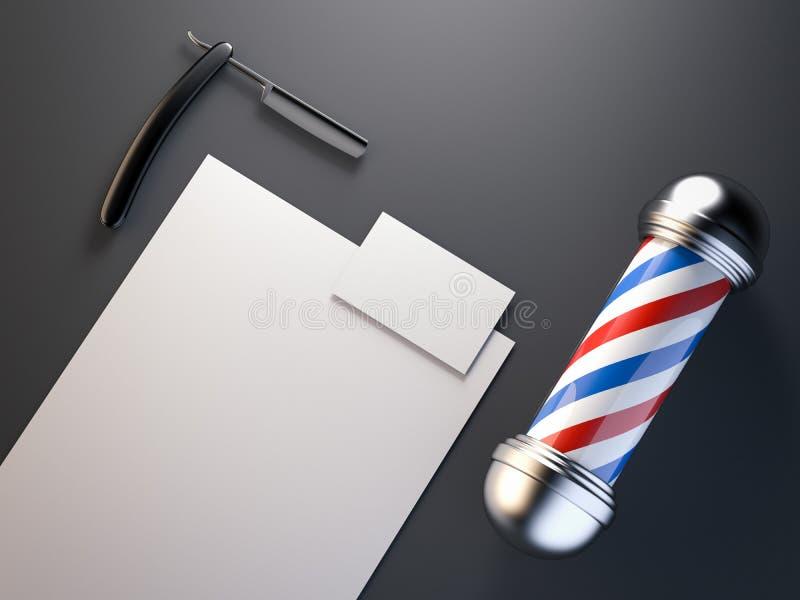 Barber shop mock up with pole. 3d rendering vector illustration