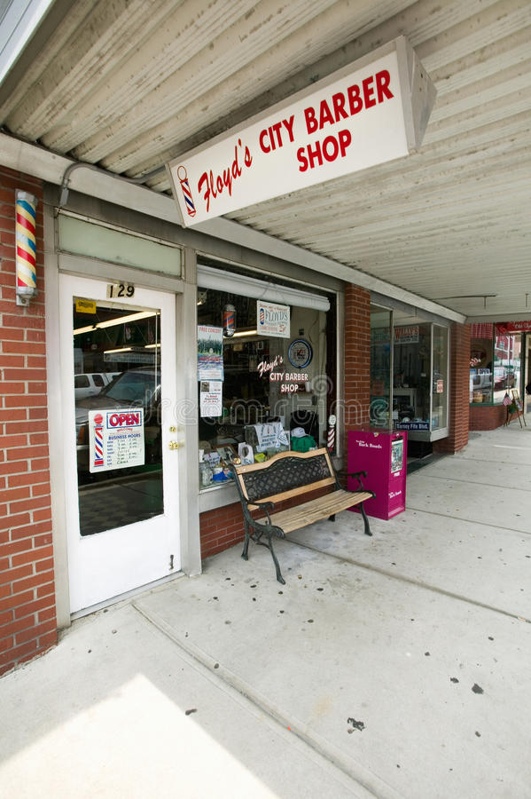 Barber Shop in Mount Airy. Floyd's City Barber Shop in Mount Airy, North Carolina, the town featured in �Mayberry RFD stock photography