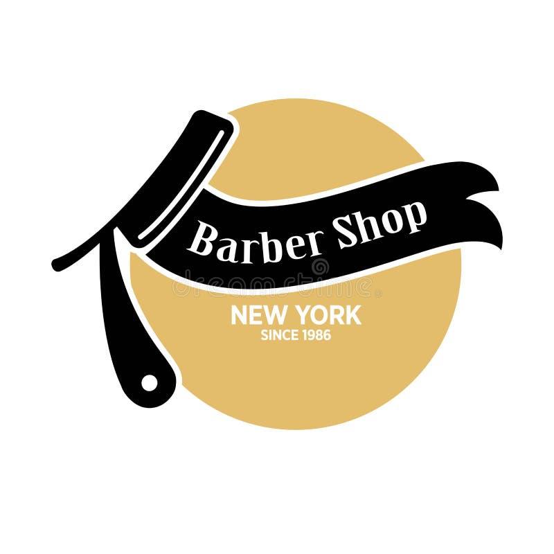 Barber shop in New York since 1986 emblem royalty free illustration