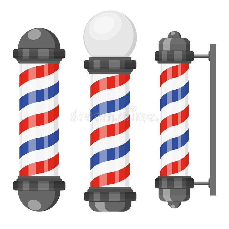 Barber shop poles with stripes isolated on white background. Barbershop sign, hairdresser symbol in flat style. royalty free stock photography