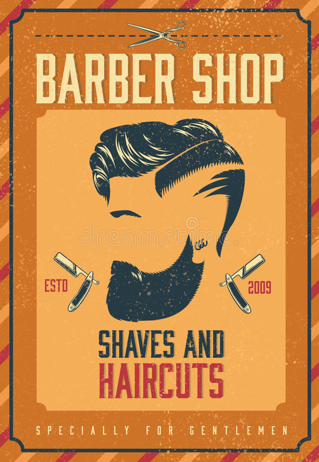 Barber Shop Poster Stock Vector Illustration Of