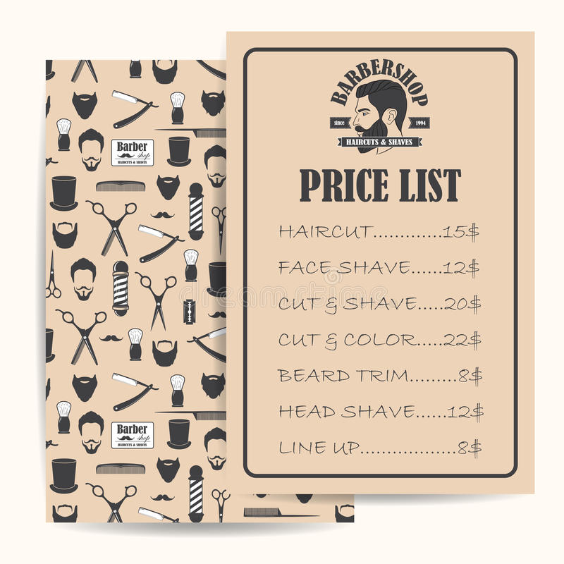Barber Shop Price Or Brochure List With Prices At The Hairstyles And ...