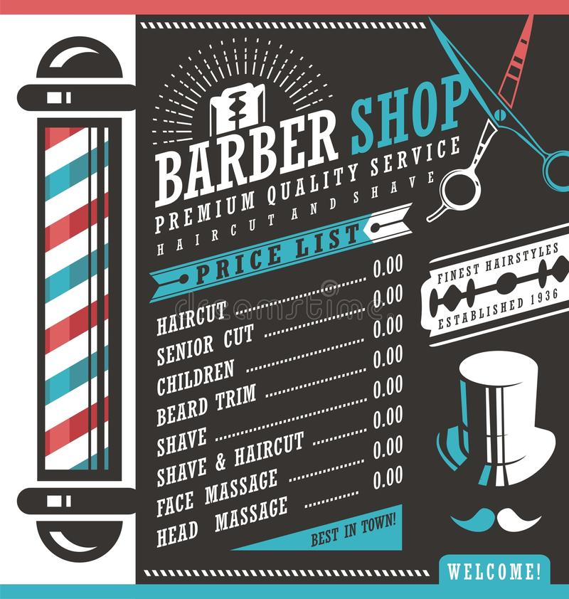 Barber Shop price list template. Haircut and shave retro barber sign on dark background. Gentlemen hair styles promotional banner graphic. Barber salon