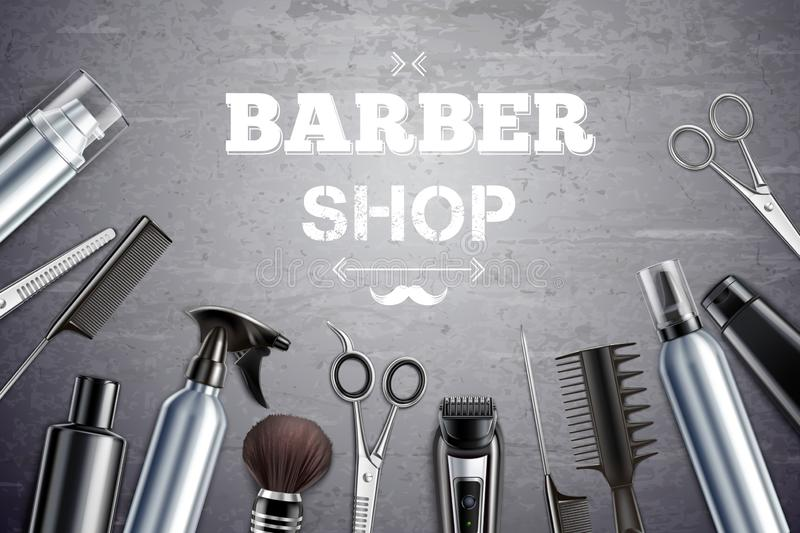 Barber Shop Realistic Background ilustración del vector