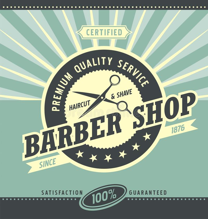 Barber shop retro poster design template. Premium quality service vintage ad concept. Haircut and shaving promotional banner graphic. Old fashioned flyer with stock illustration
