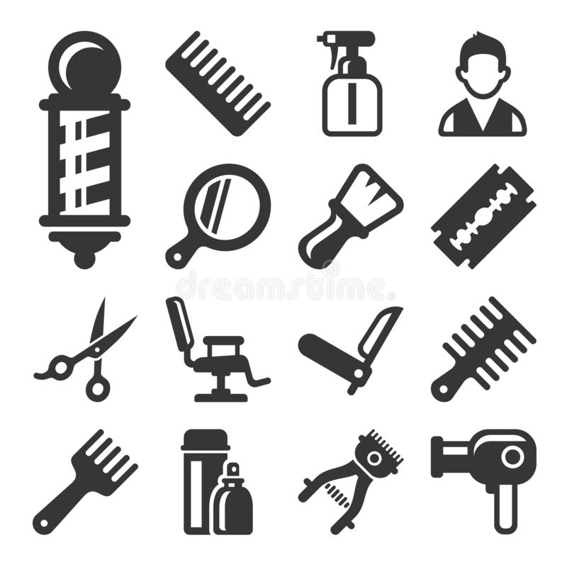 Barber Shop Salon Icons Set en el fondo blanco Vector ilustración del vector