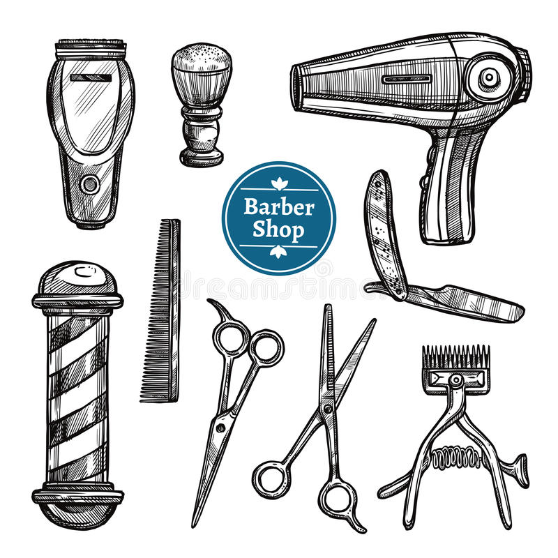 Barber Shop Set Doodle Sketch symboler vektor illustrationer