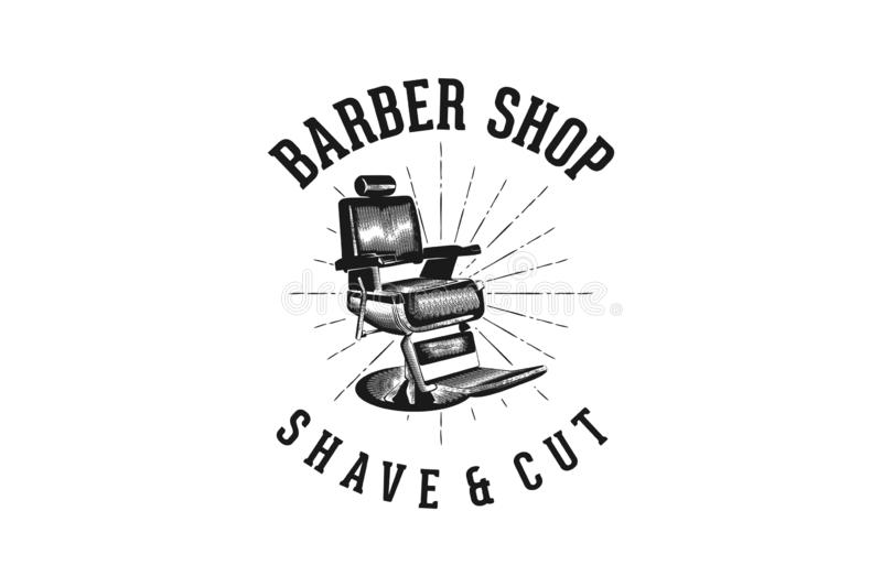 Barber shop shave and cut classic logo design. royalty free illustration