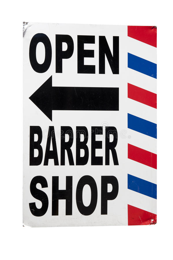 Barber Shop Sign. A barber shop sign on a white background royalty free stock photography