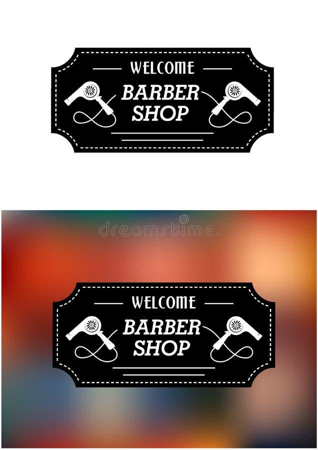 Barber Shop sign with hairdryers stock illustration