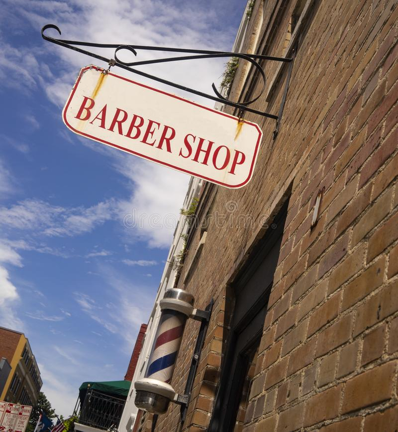 Barber Shop Sign Pole Downtown Urban Business stock image